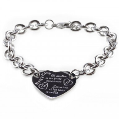 "Sister ""destiny"" heart bracelet in stainless steel"