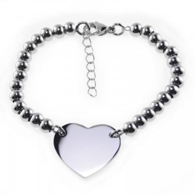 Bracciale palline a cuore personalizzabile in acciaio inox