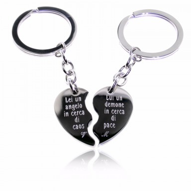 Pair of half heart keychains in stainless steel