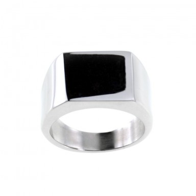 Customizable chevalier ring in stainless steel