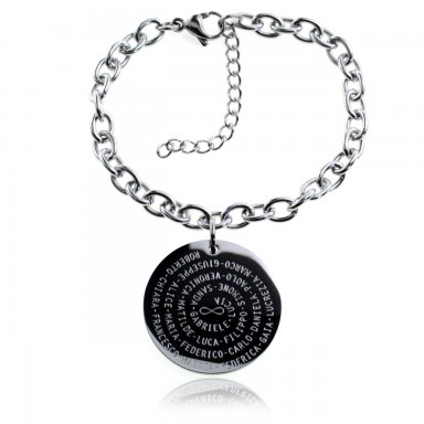 Teacher bracelet with spiral names in stainless steel