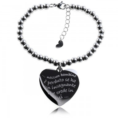 Heart teacher bracelet with stainless steel beads