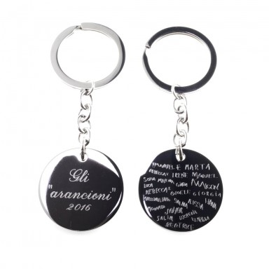 Keychain with autographed signatures in stainless steel