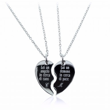 Pair of half heart necklaces in stainless steel