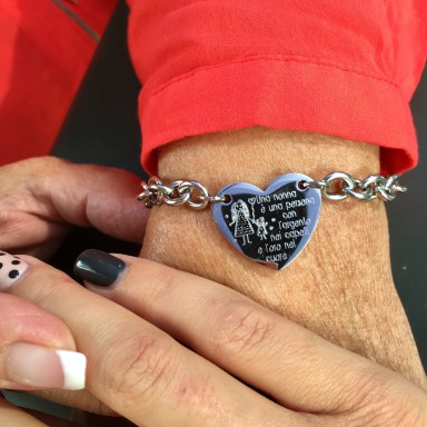 Grandma heart bracelet chained in stainless steel