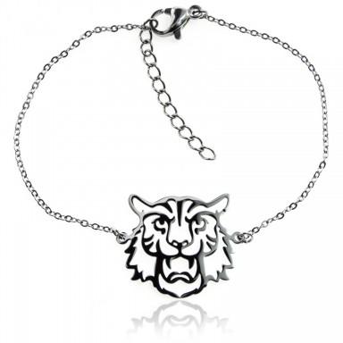 Bracciale leone traforato in acciaio inox
