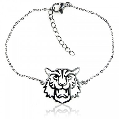 Perforated lion bracelet in stainless steel