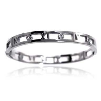 Thin Roman numeral bracelet in stainless steel