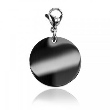 Medium round charm 23.5 mm in stainless steel