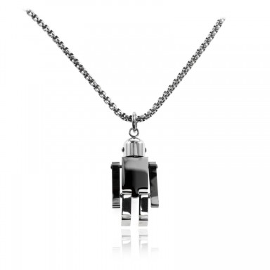 Robot unisex necklace in stainless steel