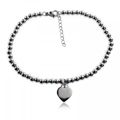 Bracciale acciaio palline con cuore pendente mini