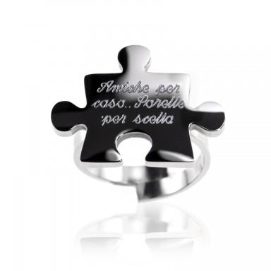 Anello puzzle regolabile in acciaio inox