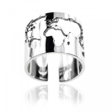 Around the world ring in stainless steel