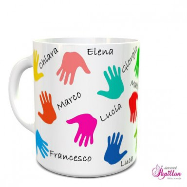 Mug with little hands and children's names
