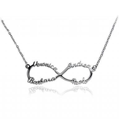 Infinity family necklace in stainless steel