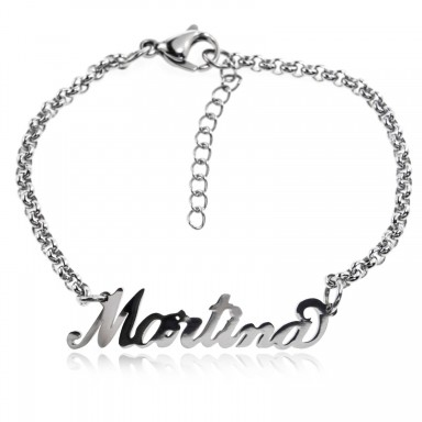 Personalized name bracelet in stainless steel