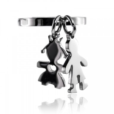 Stainless steel boy and girl ring