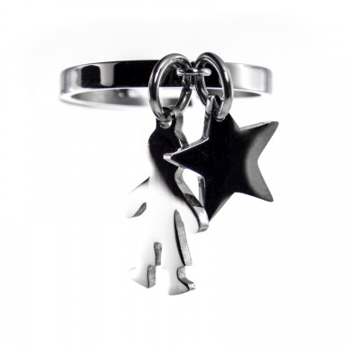 stainless steel ring with child and star