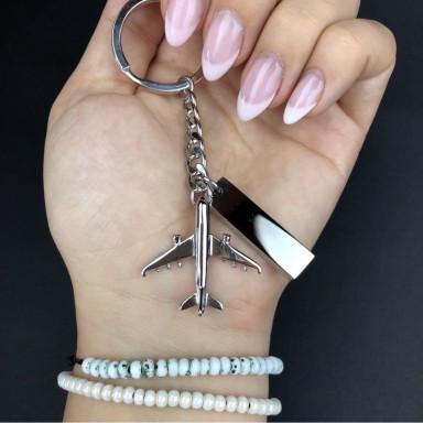 Airplane keyring in stainless steel