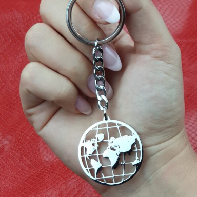 Keychain world parallel meridians in stainless steel