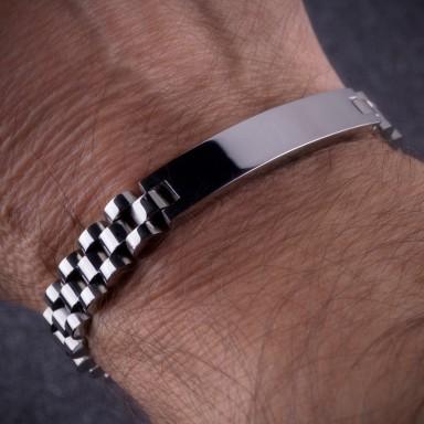 """President"" bracelet 1x4,2 plate in stainless steel"