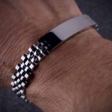 """President"" bracelet 42x10 plate in stainless steel"