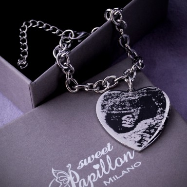 Bracelet with ultrasound engraved in stainless steel