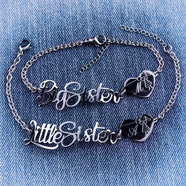 Pair of Big and Little Sister bracelets in stainless steel