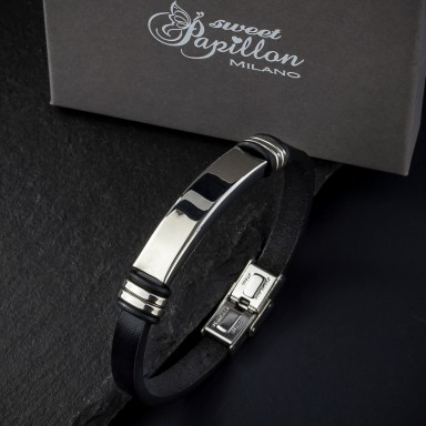 Black leather bracelet in stainless steel