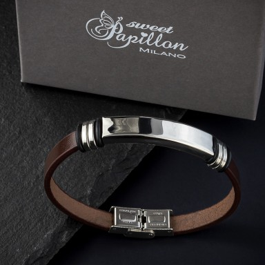 Brown leather bracelet in stainless steel