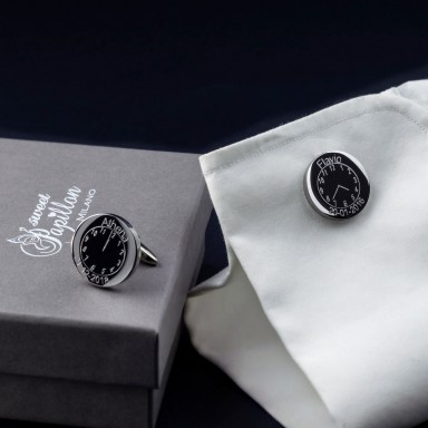 Round cufflinks in stainless steel