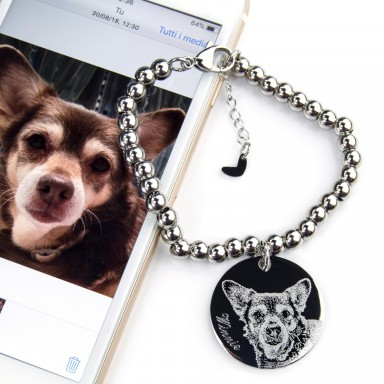 Custom round pendant bracelet with photo