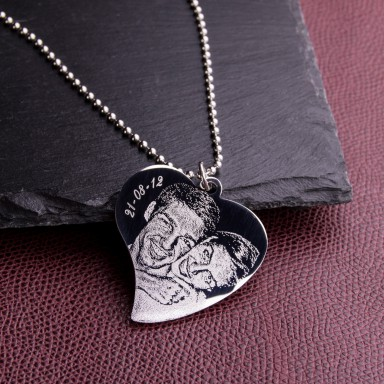 Heart Necklace with photo in stainless steel