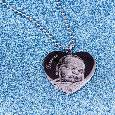 Collana cuore con foto in acciaio inox