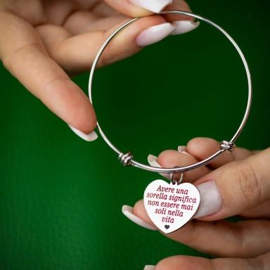 """Having a sister"" rigid bracelet in stainless steel"