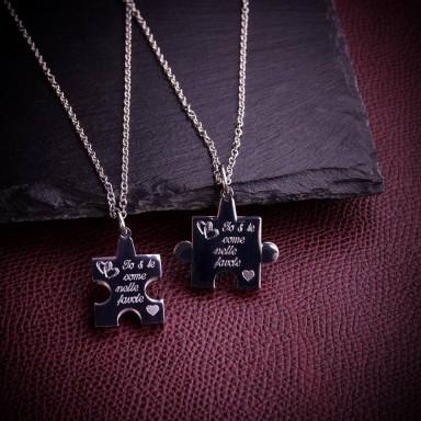Coppia di collane PUZZLE personalizzabili in acciaio inox