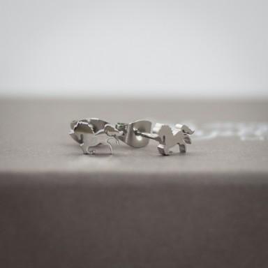 Coppia di micro orecchini unicorno in acciaio inox