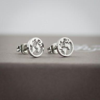 Coppia di micro orecchini mondo in acciaio inox