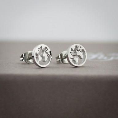 Pair of micro world earrings in stainless steel