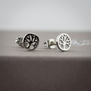 Pair of tree of life micro earrings in stainless steel