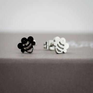 Coppia di micro orecchini ape