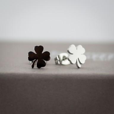 Coppia di micro orecchini quadrifoglio in acciaio inox