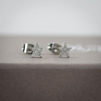 Coppia di micro orecchini stellina brillantinata in acciaio inox