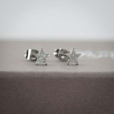 Pair of micro star-studded earrings in stainless steel