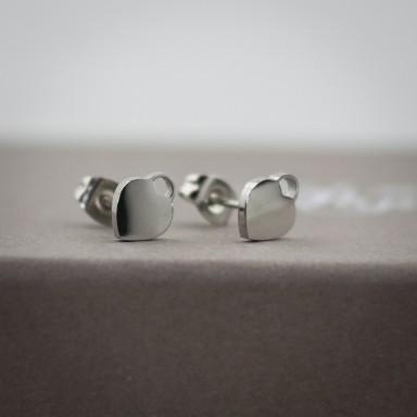 Coppia di micro orecchini cuore lucchetto in acciaio inox