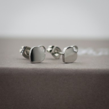 Pair of micro heart lock stainless steel earrings