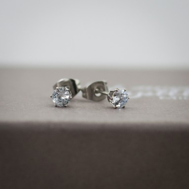 Coppia di micro orecchini zircone in acciaio inox