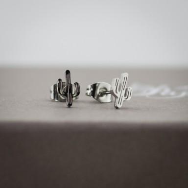 Coppia di micro orecchini cactus in acciaio inox