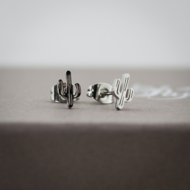 Pair of stainless steel micro cactus earrings