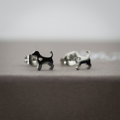 Coppia di micro orecchini cane in acciaio inox